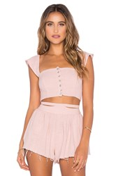 Somedays Lovin Sun And Sand Woven Crop Top Pink