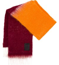 Loewe Window Two Tone Mohair And Wool Blend Scarf Burgundy Orange
