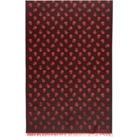 Alexander Mcqueen Black And Red All Over Skull Scarf