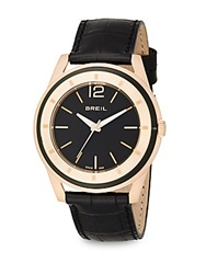 Breil Milano Rose Goldtone Stainless Steel And Croc Embossed Leather Round Watch Black Gold