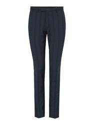Label Lab Baskin Skinny Fit Tropical Check Suit Trousers Blue