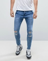 Illusive London Muscle Fit Jeans With Distressing Blue