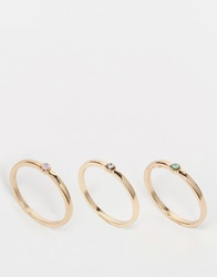 Warehouse Tiny Stone Ring Multipack Gold
