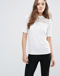 Vila Short Sleeve Jumper With Lace Panel White Black