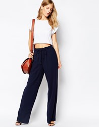Warehouse Boxer Waist Wide Leg Trouser Black