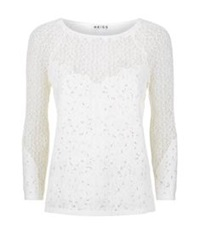 Reiss Shell Lace Long Sleeve Top White