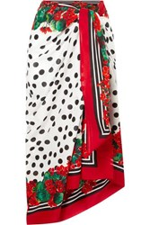 Dolce And Gabbana Printed Cotton Voile Pareo Red