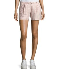 Atm Anthony Thomas Melillo Striped Pleated Linen Shorts Pink Pattern
