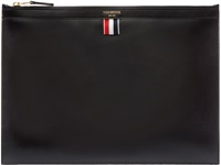 Thom Browne Black Leather Document Zip Pouch