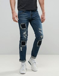 Always Rare Tyler Skinny Jean Mid Wash Patched Knees Blue