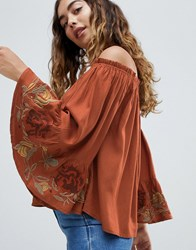 Hazel Off Shoulder Lace Cuff Blouse Red