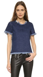 Marques Almeida Denim Crop Top Indigo