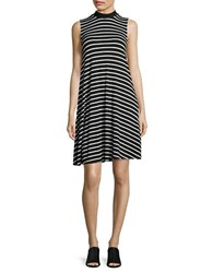 Lord And Taylor Clover Striped Swing Dress Black