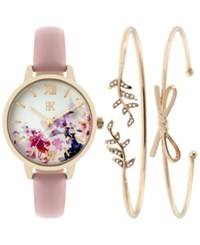 Inc International Concepts Women's Leather Strap Watch And Bracelet Set 34Mm Only At Macy's Blush