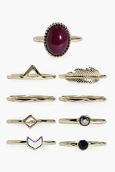 Boohoo Scarlett Stone And Geometric Mixed Ring Pack Gold