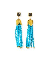 Dina Mackney Sleeping Beauty Turquoise Tassel Earrings Blue