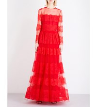 Valentino Long Sleeved Lace Gown Red
