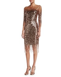 Monique Lhuillier Sequined Ombre Illusion 3 4 Sleeve Dress Bronze
