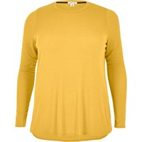 River Island Womens Ri Plus Yellow Long Sleeve Scoop Neck Tshirt