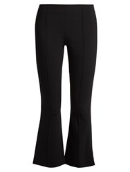 The Row Becca Kick Flare Cropped Cady Trousers Black