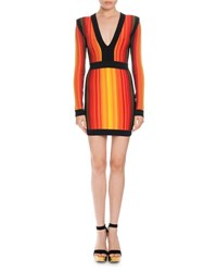 Balmain Striped V Neck Long Sleeve Mini Dress Red Orange