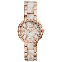 Fossil Es3716 Women's Virginia Bracelet Strap Watch Rose Gold Mother Of Pearl Rose Gold Mother Of Pearl