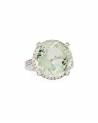 Roberto Coin 18K White Gold Green Amethyst And Diamond Ring Size 6.5
