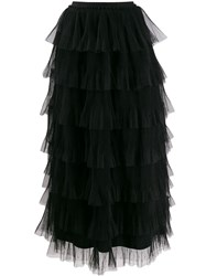 Red Valentino Ruffle Tulle Skirt Black