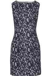 Carven Corded Lace And Gingham Cotton Mini Dress Blue