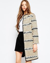 Asos Oversized Coat With Fringe Detail Multi