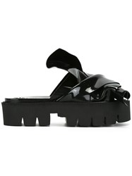 N 21 No21 Flat Bow Platform Sandals Black