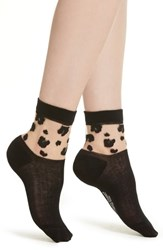 Richer Poorer Cheeta Ankle Socks Black