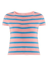 Barrie Striped Cashmere Top Pink Stripe