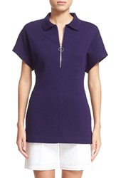 Women's St. John Collection Front Zip Milano Knit Top