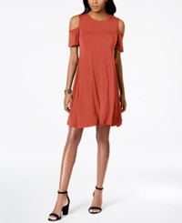 Styleandco. Style Co Petite Cold Shoulder Shift Dress Created For Macy's Smoked Salmon