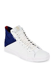 Diesel D Velows High Top Lace Up Sneakers Navy White