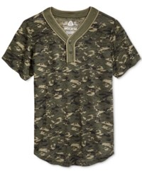 American Rag Men's Camouflage Short Sleeve Henley Only At Macy's Dusty Olive
