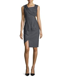 Prabal Gurung Sleeveless Asymmetric Tuxedo Dress Heather Gray Heather Grey