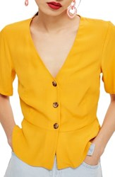 Topshop Bryony Tea Button Front Blouse Yellow