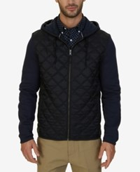 Nautica Men's Fleece Quilted Hoodie Navy