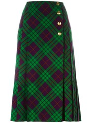 Yves Saint Laurent Vintage Tartan Check Midi Skirt Green