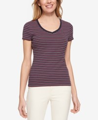 Tommy Hilfiger Cotton Striped Flag T Shirt Only At Macy's Navy Multi