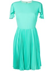Mulberry Pleated Skirt Flared Dress Green