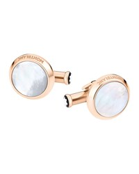 Montblanc Mother Of Pearl Round Rose Golden Cuff Links Silver