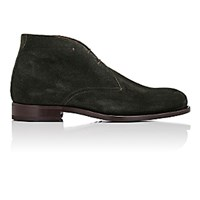 Isaia Men's Suede Chukka Boots Dark Green