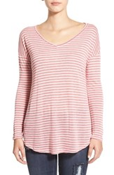 Junior Women's Bp. Stripe V Neck Long Sleeve Tee Red Beauty Stripe Loose