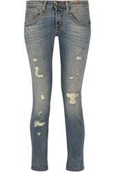 R 13 R13 Boy Distressed Mid Rise Skinny Jeans Mid Denim