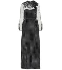 Valentino Polka Dot Wool And Silk Dress Black