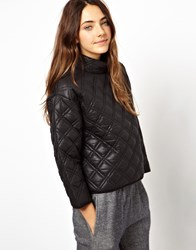 Asos Quilted Sweatshirt With Padded High Neck Black