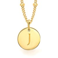 Missoma Women's Initial Charm Necklace J Gold